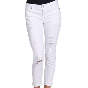 Denim - NEW Distressed white low rise jeans